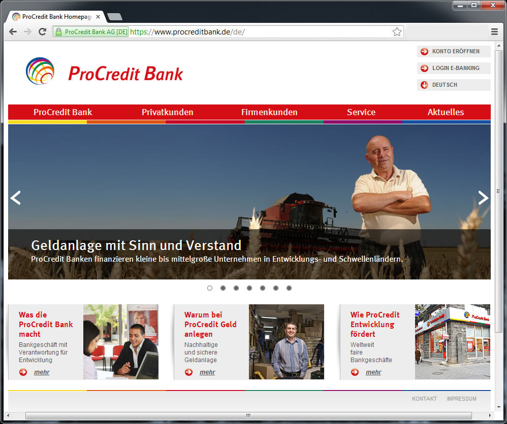 Webdesign ProCredit Bank mit Sitz in Frankfurt
