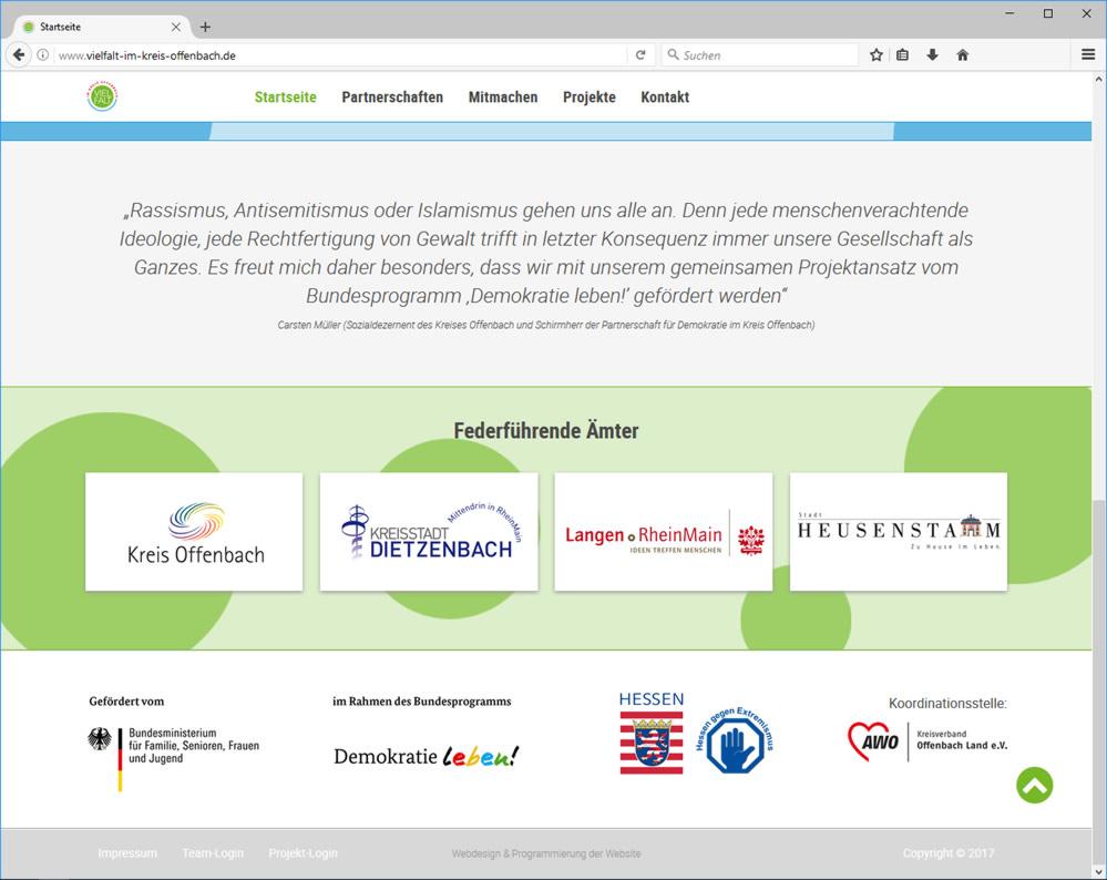 Webdesign Partnerschaften für Demokratie - Vielfalt im Kreis Offenbach