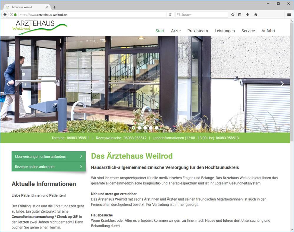 Webdesign für die neue Homepage des Ärztehauses