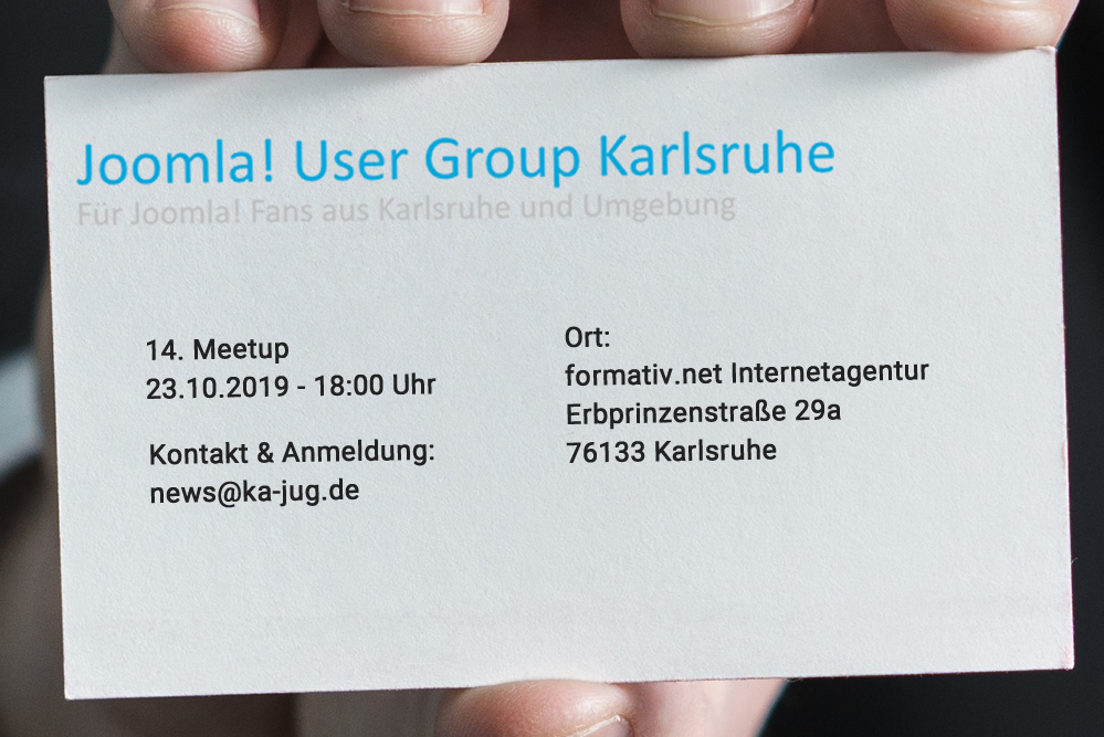 14. Meeting Joomla! User Group Karlsruhe - formativ.net Digitalagentur